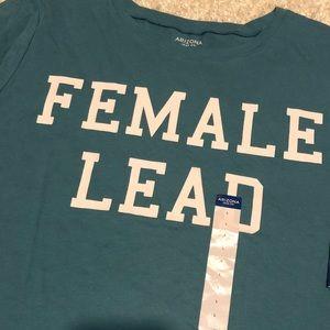 Arizona t-shirt NWT teal, blue-green FEMALE LEAD